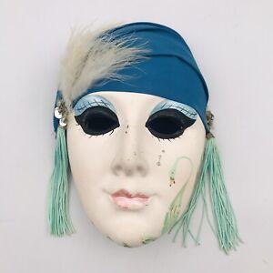 "Lis Mardi Gras Style Clay Mask Teal Scarf Feathers 7 7/8"" x 5 1/2"" Tassel"