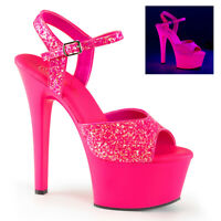 Pleaser ASPIRE-609G Womens Neon Hot Pink Glitter High Heel Platform Strap Sandal