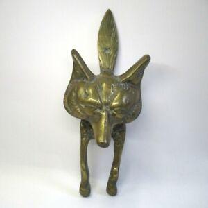 Door Knocker Fox Head Design Solid Brass Decorative 24.5cm Vintage Unbranded