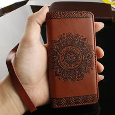 For Samsung Note 8 S9 Plus Retro Pattern PU Leather Flip Wallet Cards Case Cover