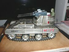 rare heavy Toy Japan Vintage Tank M-75 battery Operated works great