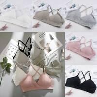 Women Cotton Strappy Bralette Push-up Padded Bra Crop Tops Underwear Lingerie JT