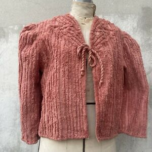Vintage 1930s Salmon Pink Chenille Cotton Striped Jacket Blouse Coat Bow Cropped