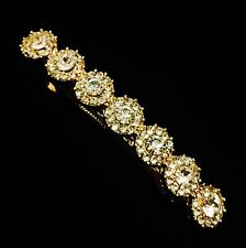 USA BARRETTE Hair Clip using Swarovski Crystal Hairpin Gold Simple Clear Bridal