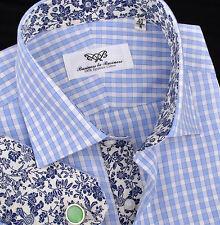 Mens Checkered Formal Business Dress Shirt Blue Luxury Designer Floral Boss Sexy