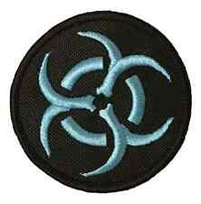 Bio Hazard Blue Symbol Embroidered Sew or Iron on Patch (A)
