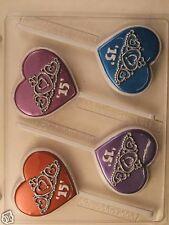 QUINCEANERA 15 TIARA HEART LOLLIPOP CLEAR PLASTIC CHOCOLATE CANDY MOLD SPL036
