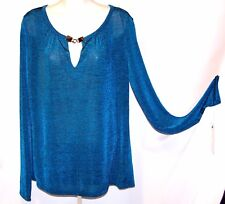 NEW $44 Tag DANA BUCHMAN Tuscany Teal MEDIUM Top Baroque Romance Embellished Nec