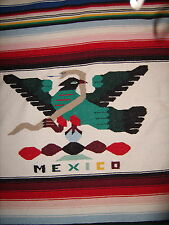 "Vintage Mexican Wool Rug Blanket 46"" x 76""  W/Fringe Southwestern Mexico"