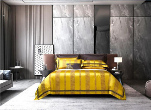 2021 Bedding Set Gold/orange Vertical Stripe Duvet Cover Egyptian Cotton Top Hot