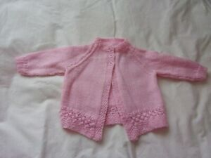 """Baby Girl's Pale Pink Hand Knit Long Sleeved Cardigan - 24""""/61cms Chest - BNWOT"""