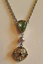 JEWELMINT  NECKLACE DROP PENDANT w/ GREEN STONES SILVER TONE