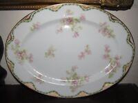 """Antique Haviland & Co. LIMOGES 16"""" Oval Serving Platter Pink Flowers/Gold Trim"""