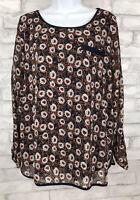 Papermoon Stitch Fix Women's  Blue Brown Floral 3/4 Sleeve Chiffon Top XL