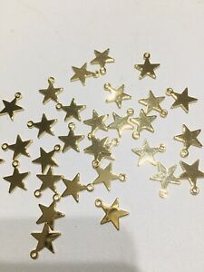 Star Charms X 20 Gold Played 10mm X 12mm Jewellery Making Charm -new