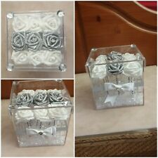 SALE CLEAR PLASTIC BOX,VASE.FOAM ROSE'S.CRYSTALS,GIFT,CENTRE PIECE. CELEBRATION