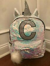 Justice Iridescent White Silver Flip Sequin Unicorn Initial C Backpack New!
