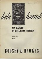 Six Dances in Bulgarian Rhythm for Piano Solo, by Bela Bartok (sheet music)