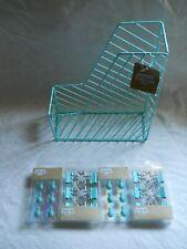 Aqua Wire Magazine Holder Pineapple Push Pins Amp Star Binder Clips 25 Pieces New