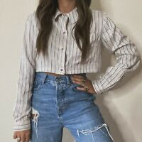 Vintage 90s Silk Striped Button Up Blouse Shirt Cropped Fit Peter Pan Lazy Oaf