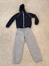 Nwt Kid's Lacoste Sport Track Suit 8A-8Yr Navy Blue Hoodie & Grey Pants