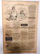 "Harper's Weekly Page U.S.Civil War Political Cartoon ""Pirate Alabama"" & Ads 1862"