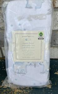 NEW Pottery Barn Kids WINTER POLAR BEAR Organic Flannel Crib Fitted Sheet