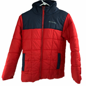 Columbia Kids Full Zip Long Sleeve Insulated Hooded Red Puffer Jacket Large