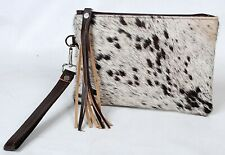 """Real Cowhide Leather Wristlet Clutch Wallet Double Side Hairon 8.5""""x5.5"""" RW-5919"""