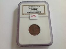1897 Great Britain Farthing Unblackened NGC MS 64 Red Brown