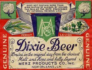 Dixie Beer NEW Metal Sign: Merz Products, New Orleans, Louisiana - Free Shipping