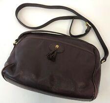 """Vintage 13"""" Etienne Aigner Tassel Burgundy Leather Shoulder Bag Handbag Purse"""