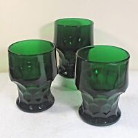 "3 Anchor Hocking Georgian forest green glass tumbler 4.25"" 8 ounce ᴾ B2"
