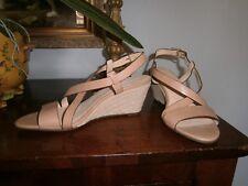 "Cole Haan Taylor Wedge Sandals~Open Toe~SANDSTONE Beige Tan~Size 10 B~3.25""~New"