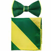 New Men's Two Tones Pre-tied Bow Tie and Hankie Set Emerald & Neon Green
