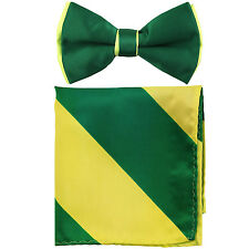 New Men's Two Tones Pre-tied Bow Tie and Hankie Set Emerald & Neon Green