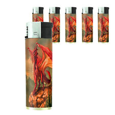Butane Refillable Electronic Lighter Set of 5 Dragon Design-003 Custom Myths