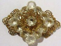 broche ancienne bijou vintage couleur or dentelle brillant cristal diamant *356