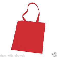 25 RED PLAIN COTTON SHOPPING SHOULDER TOTE BAGS - SCHOOL GYM CHRISTMAS