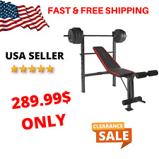 CAP Strength Standard Combo Bench with 100 lb Weight Set Home Gym Equipment