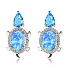 Trendy 925 Silver Stud White Fire Opal Earrings Women Jewelry Wedding Engagement