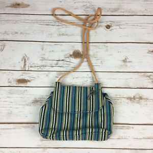 Fossil Crossbody Canvas Bag Small Striped Faux Leather Strap Snap Closure EUC