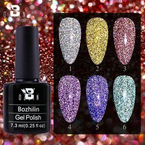 Reflective Holographic Diamond Effect Gel Nail Polish Art Glitter Soak Off UV