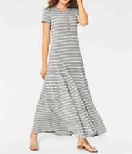Kleid Maxi Kleid HEINE grau gestreift Baumwolle Gr 36 38 40 44 46