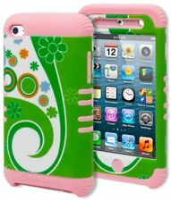 For iPod Touch 4 Hybrid Durable Baby Pink Cover Hard Green Daisy Swirl Case