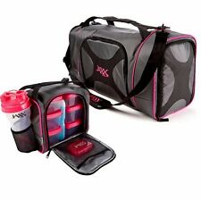 Jaxx Dual FitPak Duffle Bag & Removable Meal Prep Bag Portion Control Containers