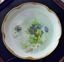 "Vintage J C & Louise Bavaria 8 1/2"" Collectors Plate Handpainted Blackberry Gold"