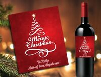 PERSONALISED WINE BOTTLE LABEL STICKER MERRY CHRISTMAS STOCKING FILLER GIFT BX03