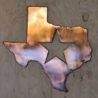 Texas with Star Wall Metal Art with Rustic Copper Finish Hanging