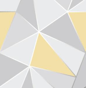 Yellow Grey Geometric Wallpaper 'FrogTape' Style | Best Selling Mustard FD41991